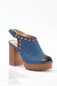 Denim Whipstitch Platform Heels