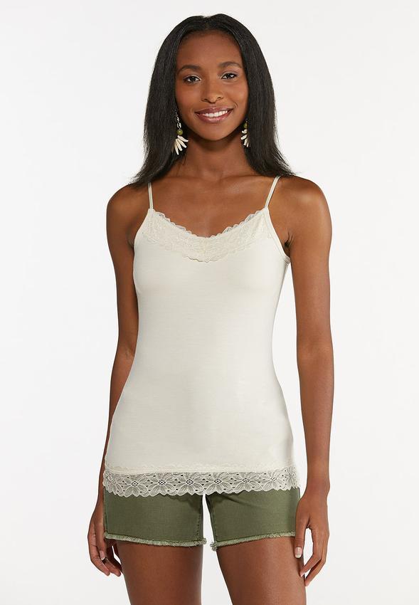 Plus Size Lace Trim Camisole