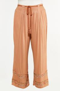 Plus Size Floral Embroidered Pants