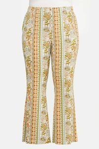Plus Size Retro Floral Flare Pants