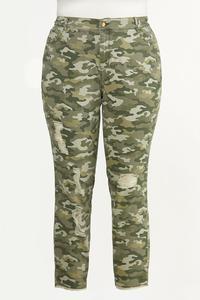 Plus Size Distressed Camo Skinny Pants