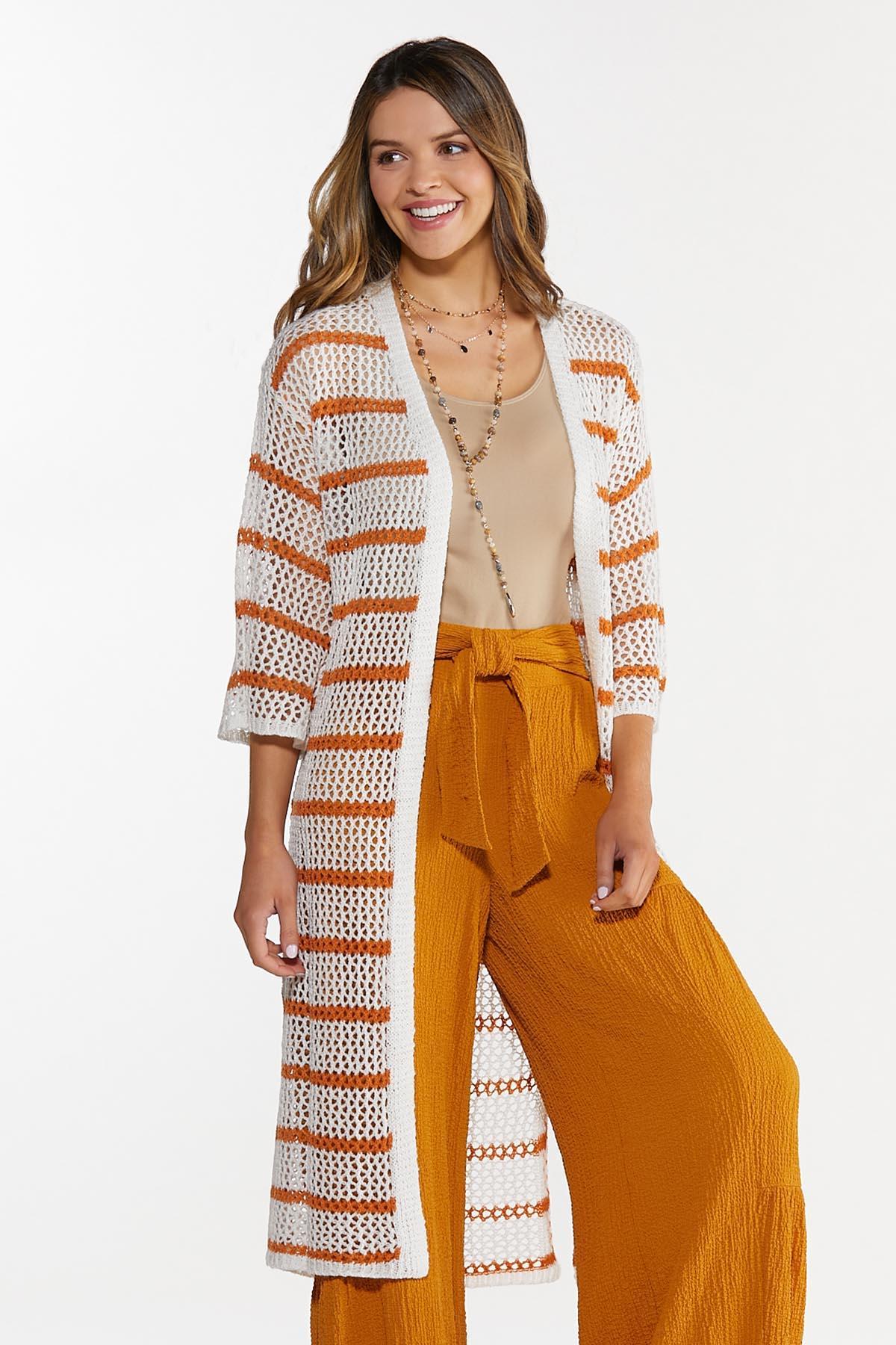 Plus Size Striped Open Stitch Duster Sweater
