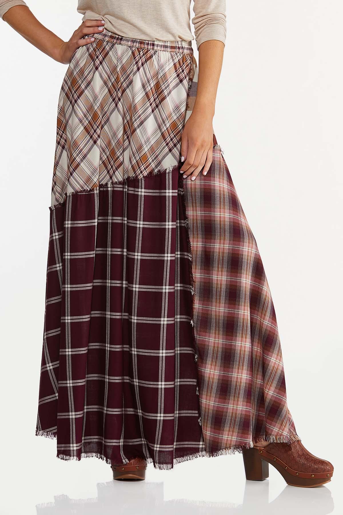 Frayed Patchwork Maxi Skirt