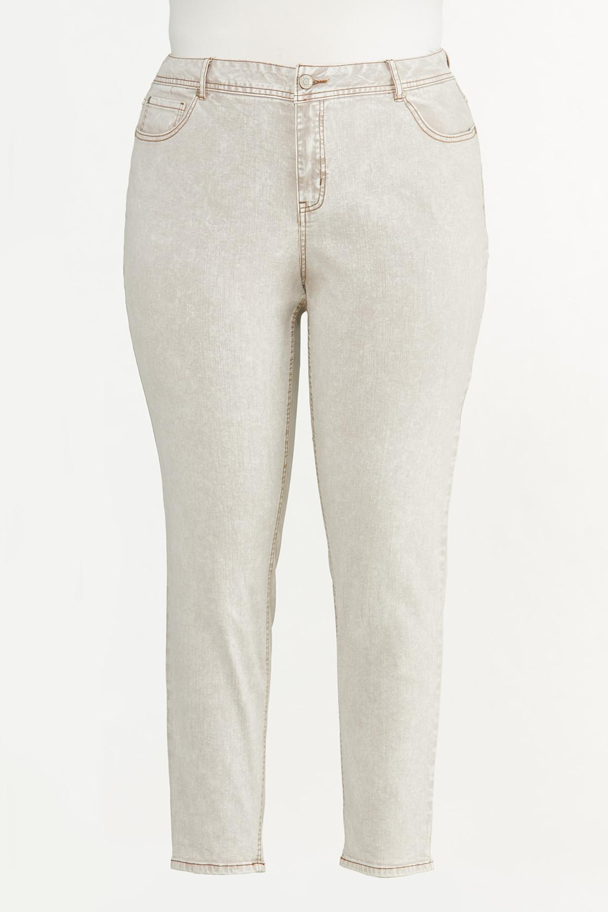 Plus Size Beige High-Rise Skinny Jeans