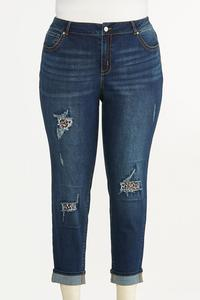 Plus Size Distressed Leopard Patch Jeans
