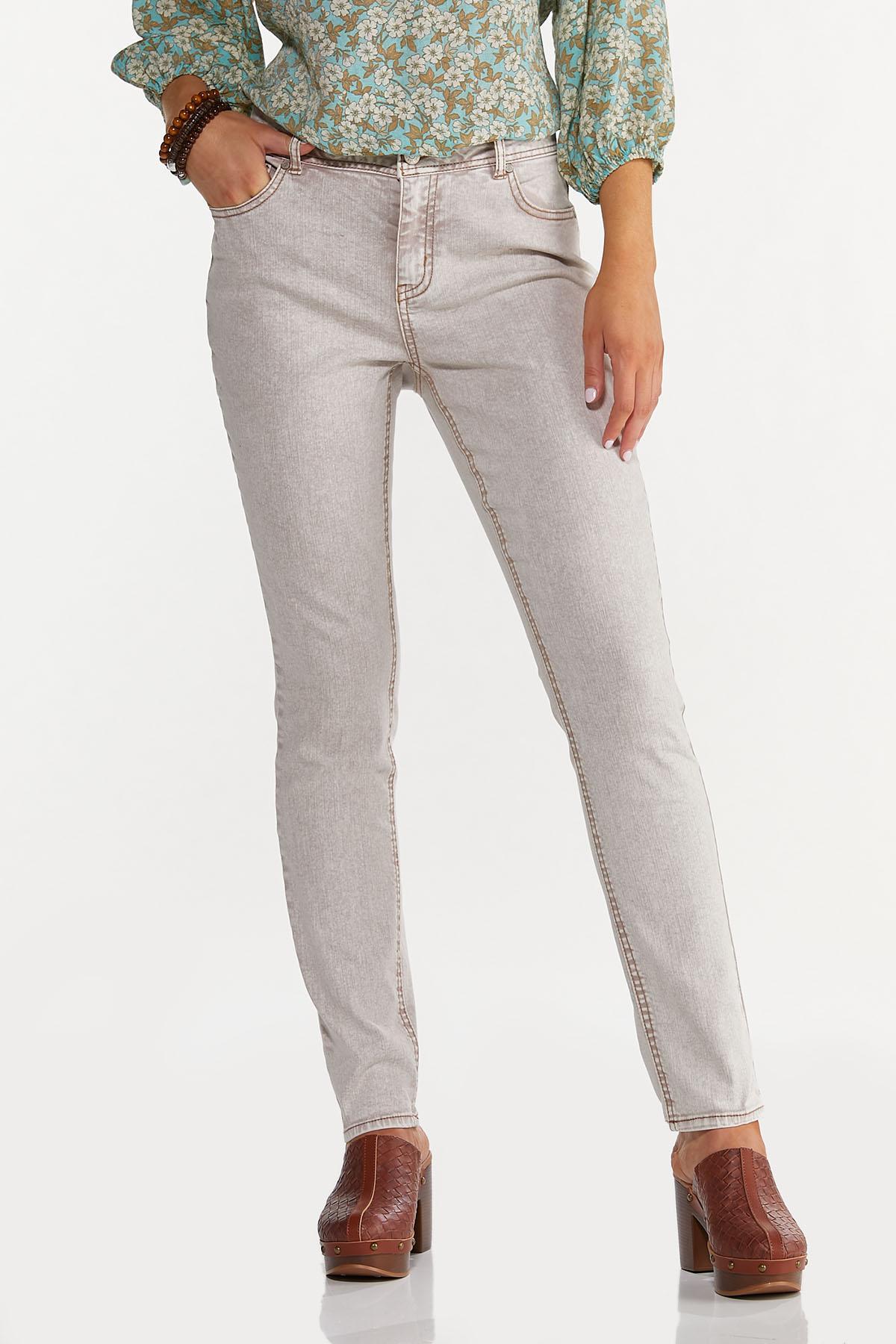 Beige High-Rise Skinny Jeans