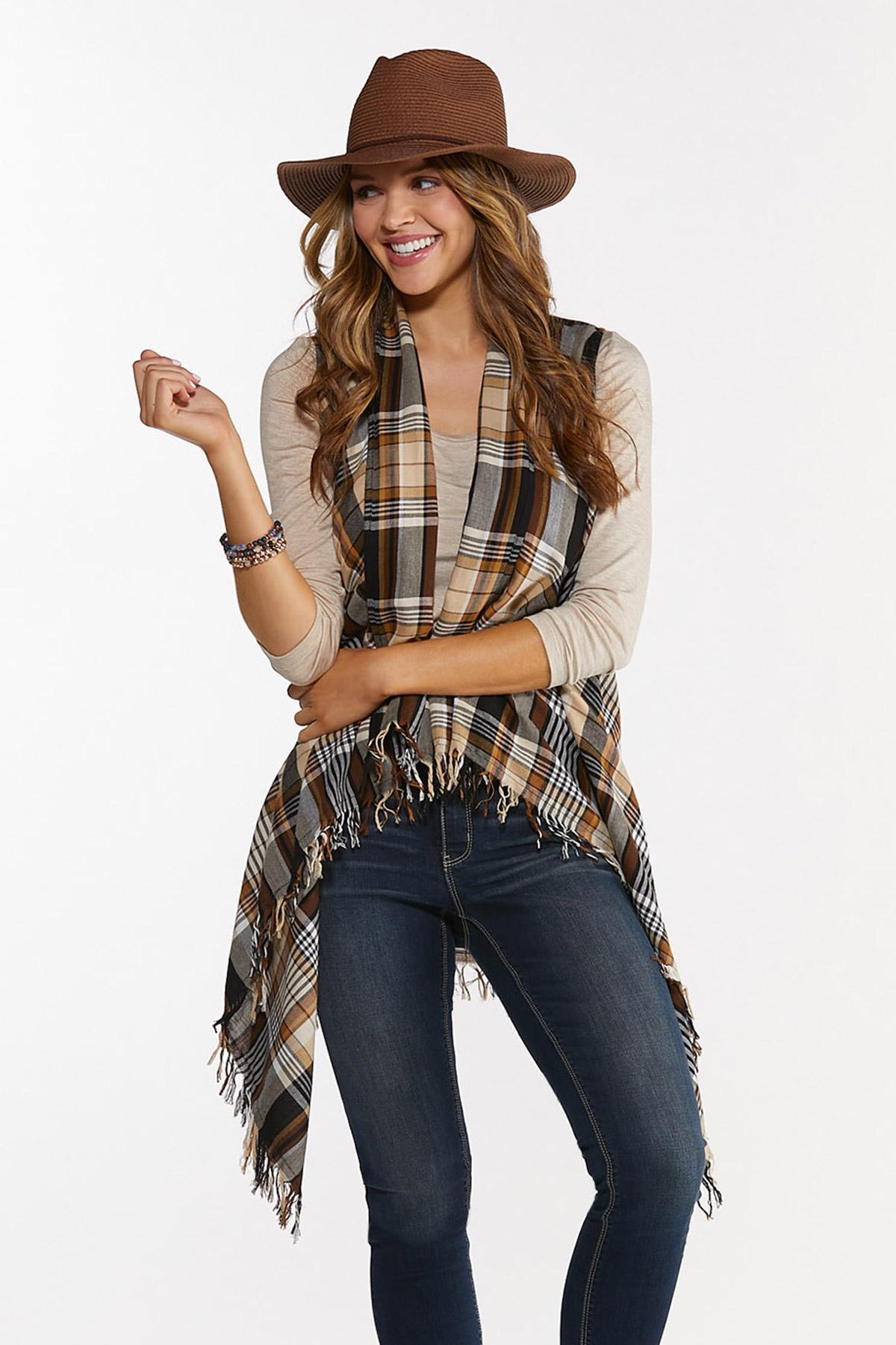 Autumn Plaid Fringe Vest