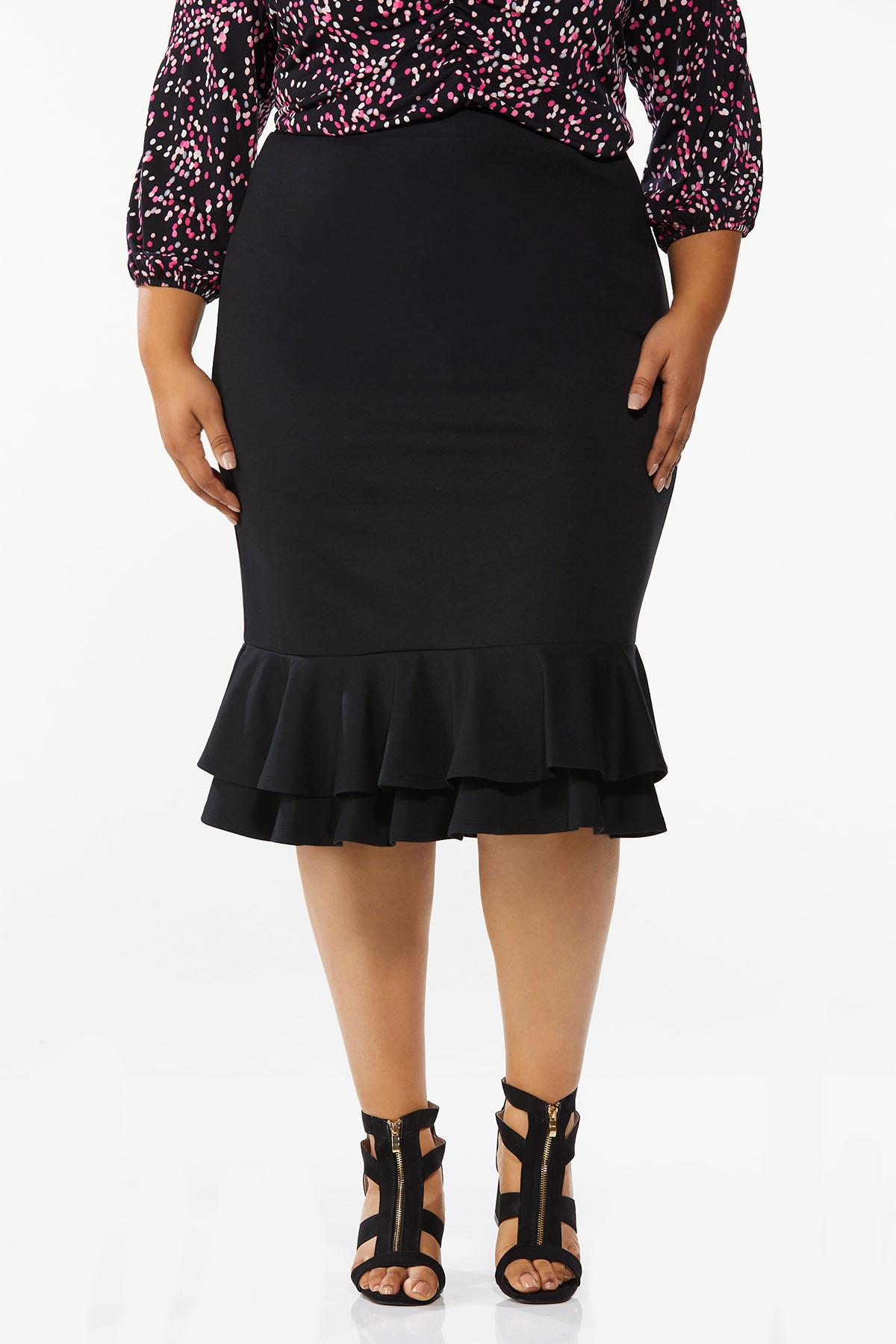 Plus Size Double Ruffle Ponte Skirt
