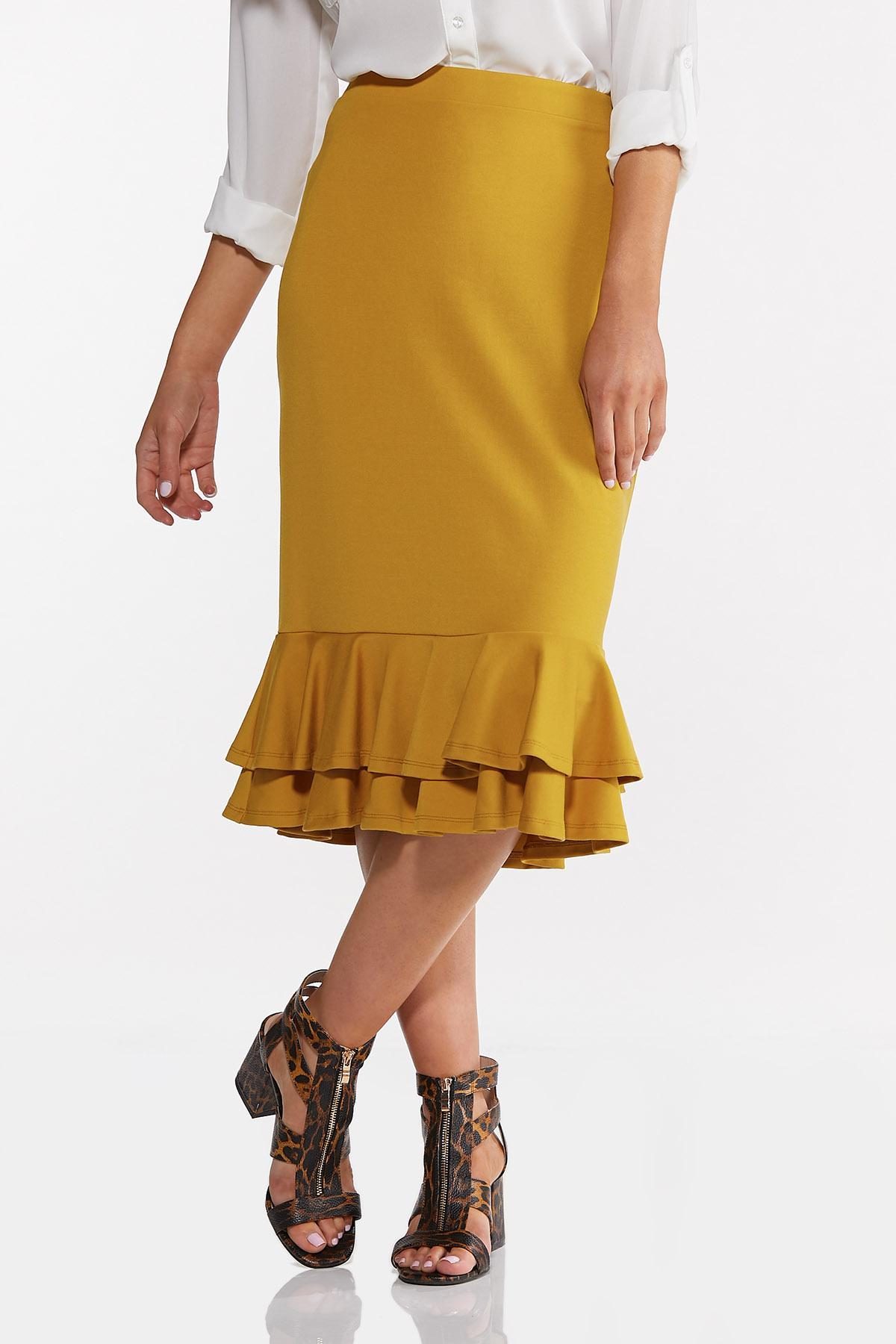 Double Ruffle Ponte Skirt