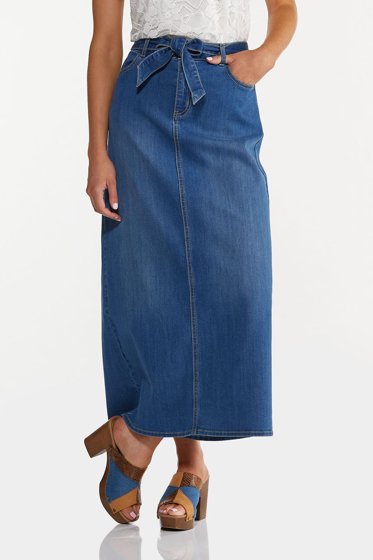 Plus Size Denim Tie Waist Maxi Skirt