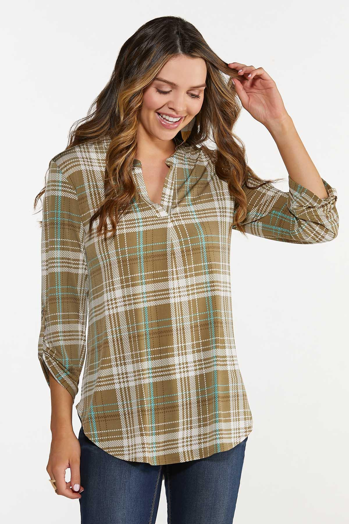 Olive Plaid Scrunch Sleeve Top