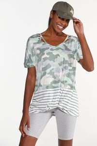 Plus Size Knotted Camo Stripe Top