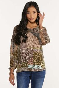 Plus Size Smocked Mixed Leopard Top