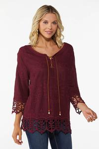Plus Size Embroidered Lace Up Top