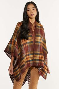 Houndstooth Plaid Reversible Wrap