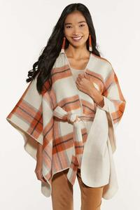 Plaid Belted Poncho