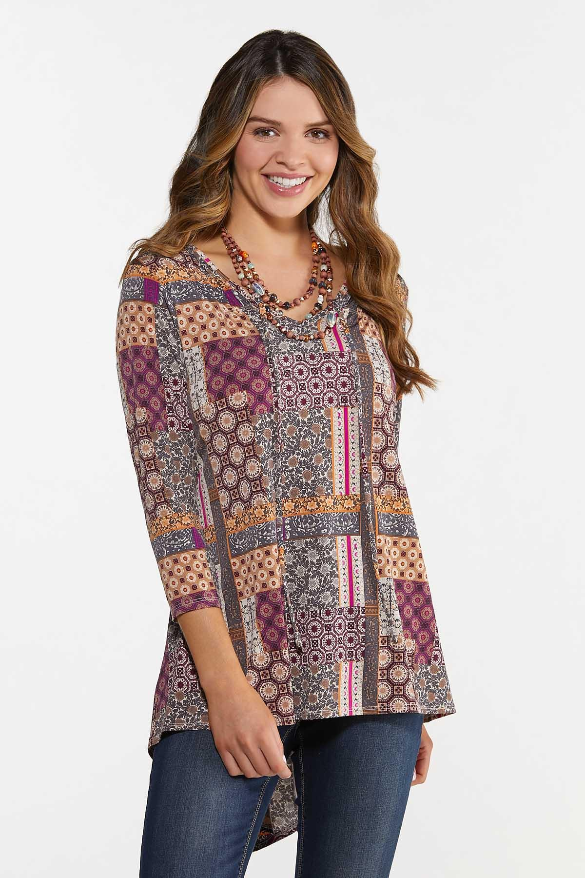 Plus Size High-Low Patchwork Tunic