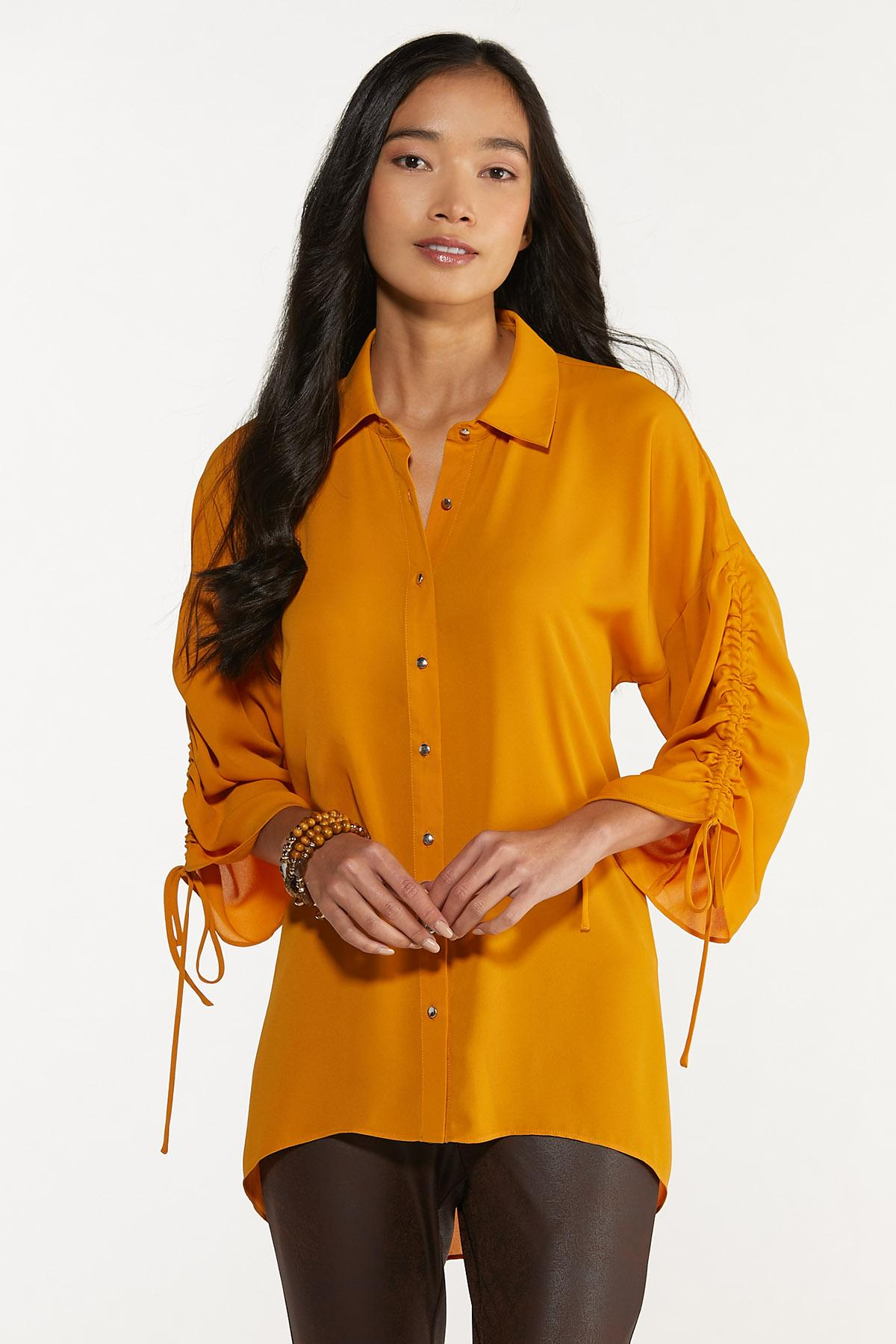 Plus Size Gold Ruched Sleeve Tunic
