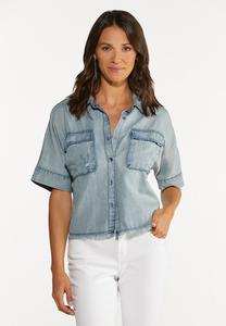 Plus Size Chambray Button Front Shirt