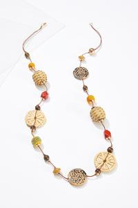 Raffia Leopard Bead Necklace