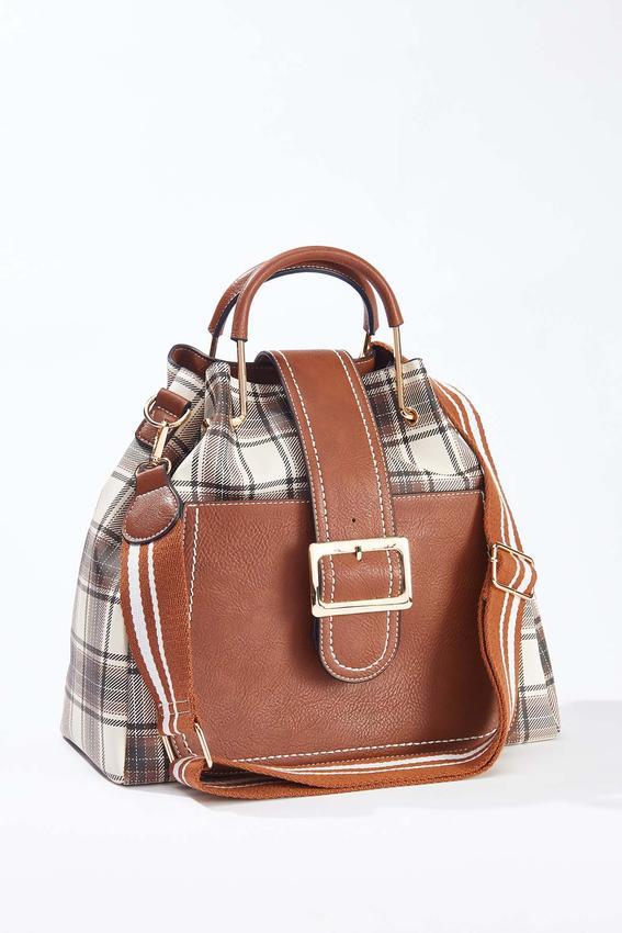 Plaid Bucket Handbag