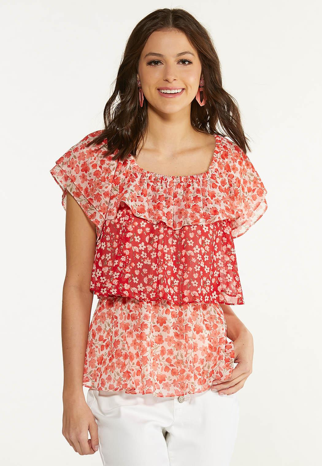 Plus Size Red Floral Ruffled Top