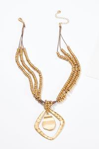 Layered Bead Pendant Necklace
