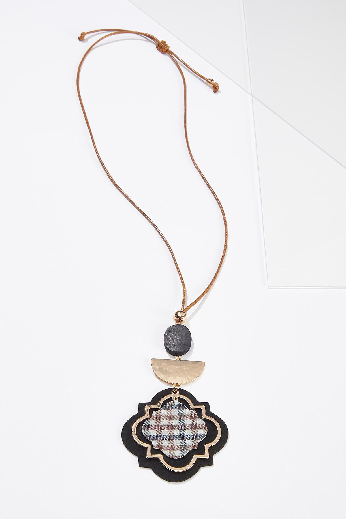 Faux Plaid Pendant Necklace