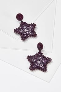 Beaded Thread Wrapped Star Earrings