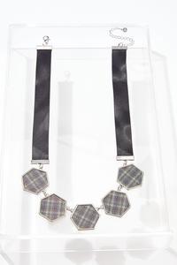 Hexagon Plaid Ribbon Necklace