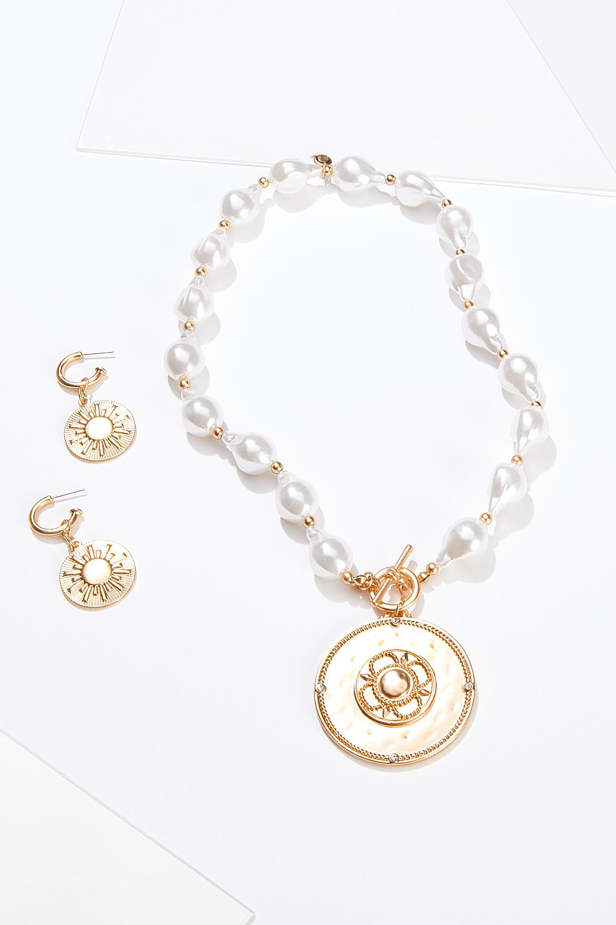Disc Pearl Necklace Earring Set