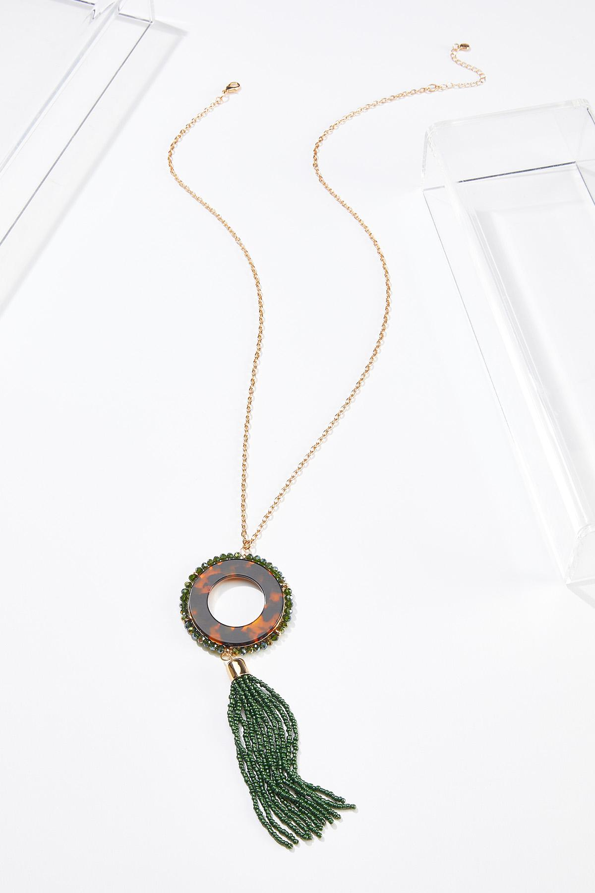 Bead Tasseled Tort Pendant Necklace