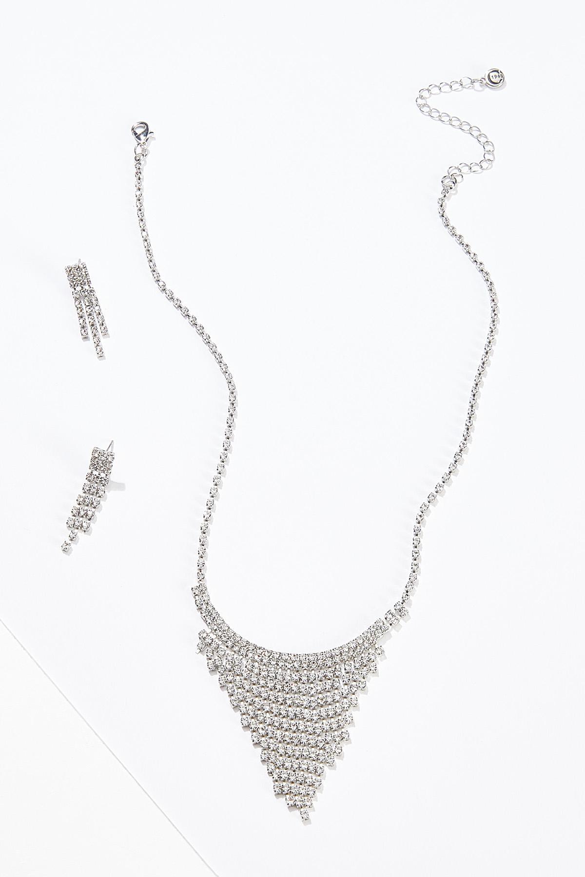 Rhinestone Fringe Necklace Earring Set