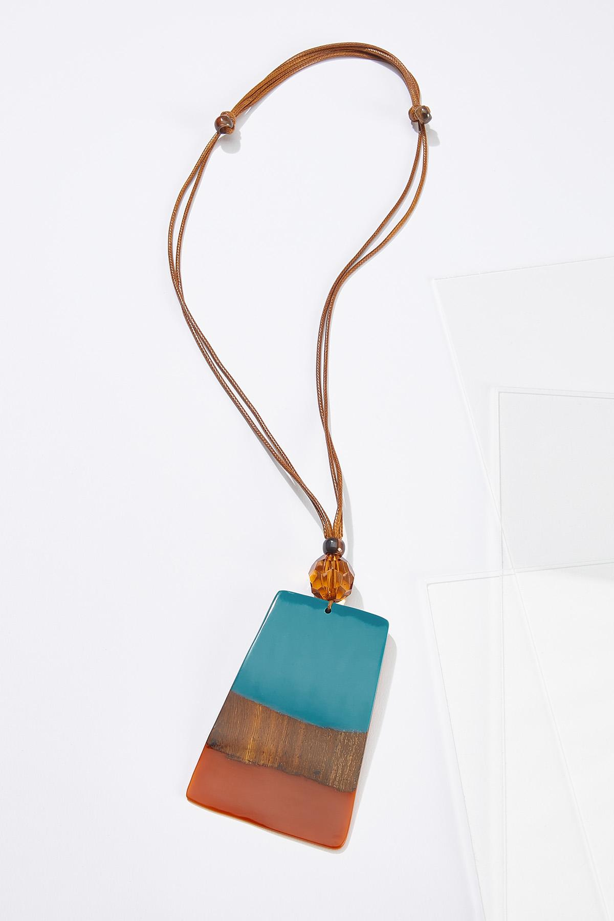Resin Wood Pendant Necklace