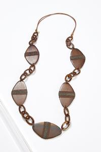 Wood Resin Link Necklace