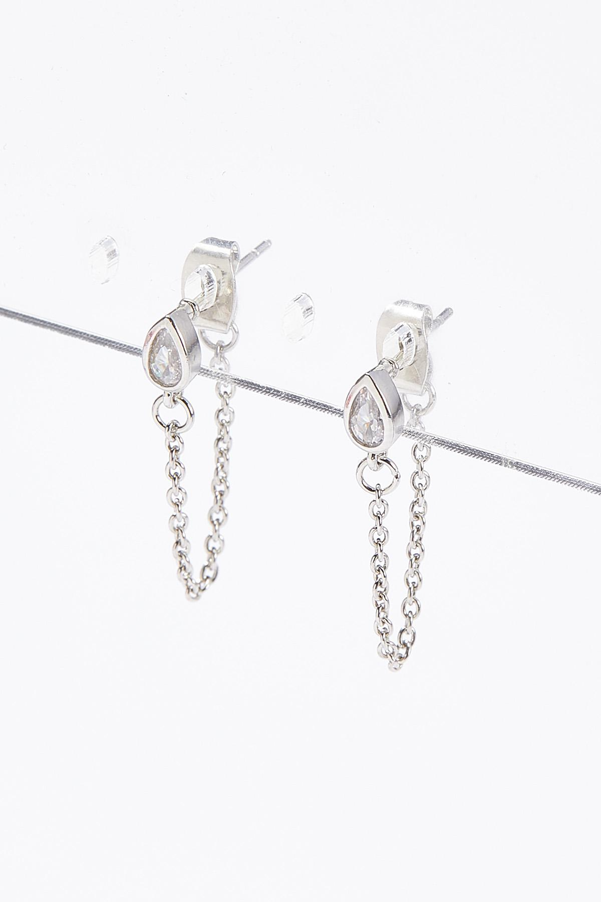 Delicate Front Back Chain Earrings
