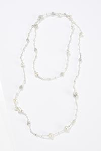 Pearl Metal Bar Necklace