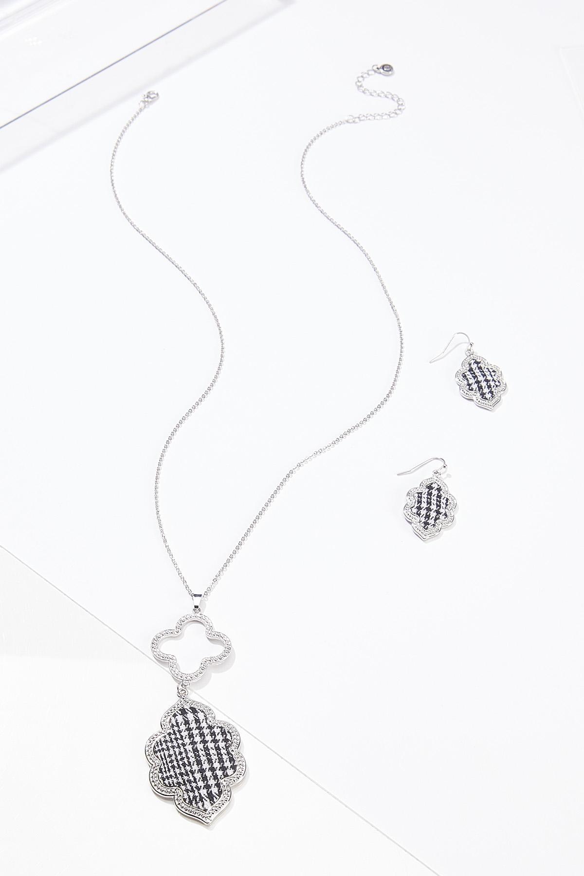 Houndstooth Clover Necklace Earring Set