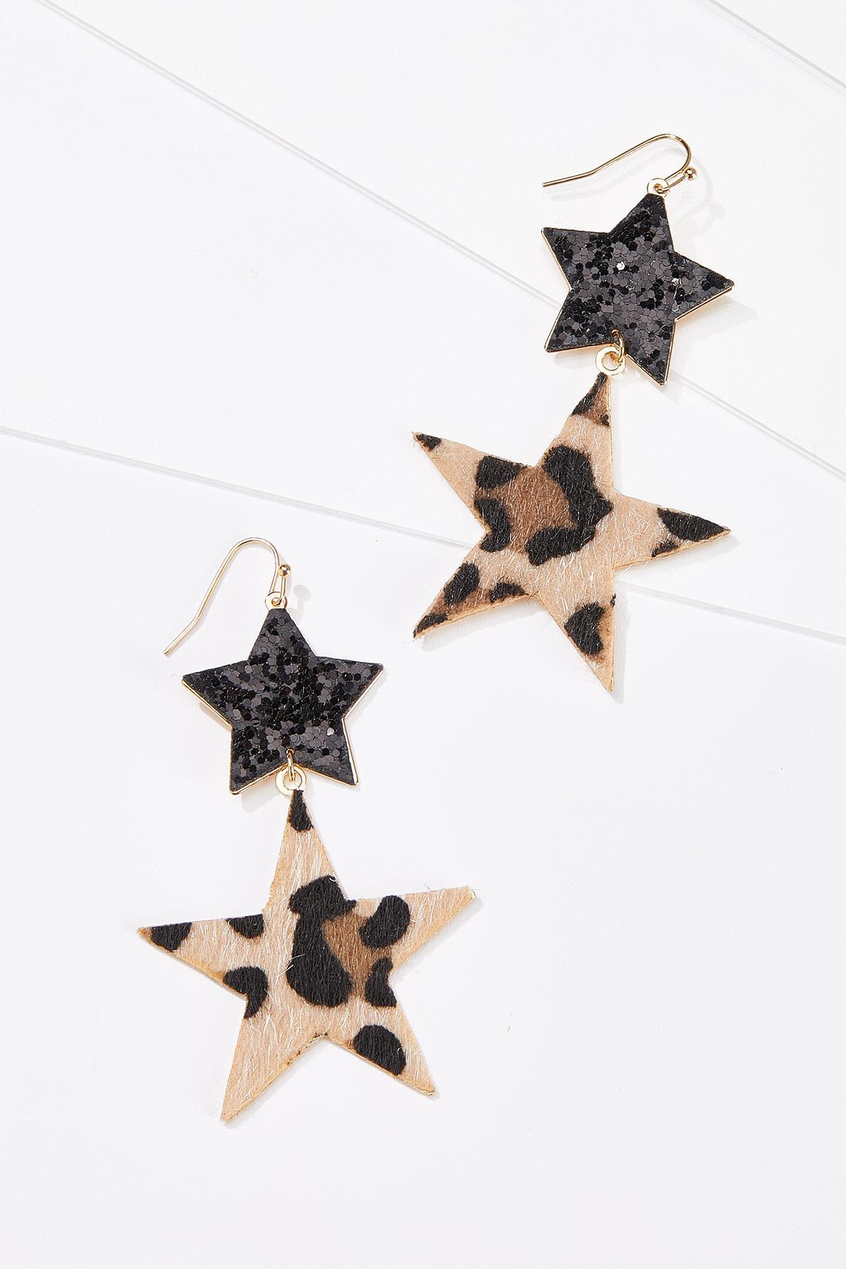 Glitter Leopard Star Earrings