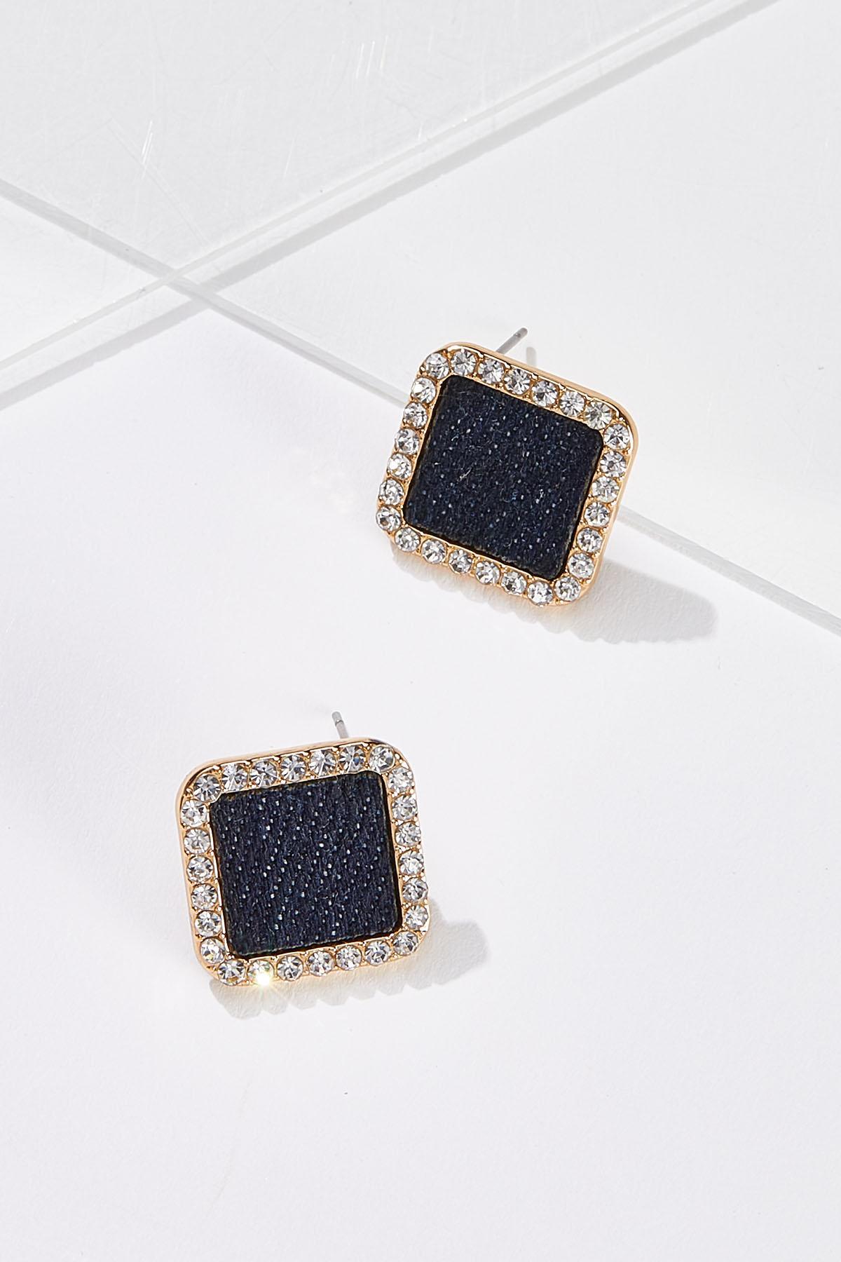 Blue Sparkle Square Earrings
