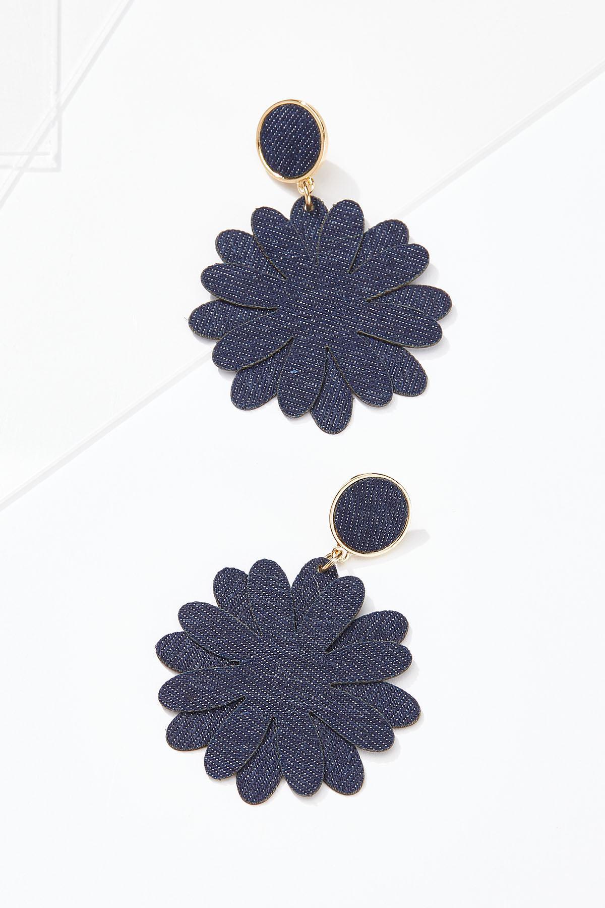 Denim Petal Earrings