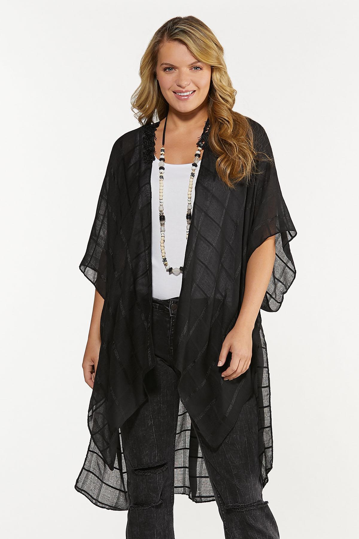 Lace Trim Gauze Kimono