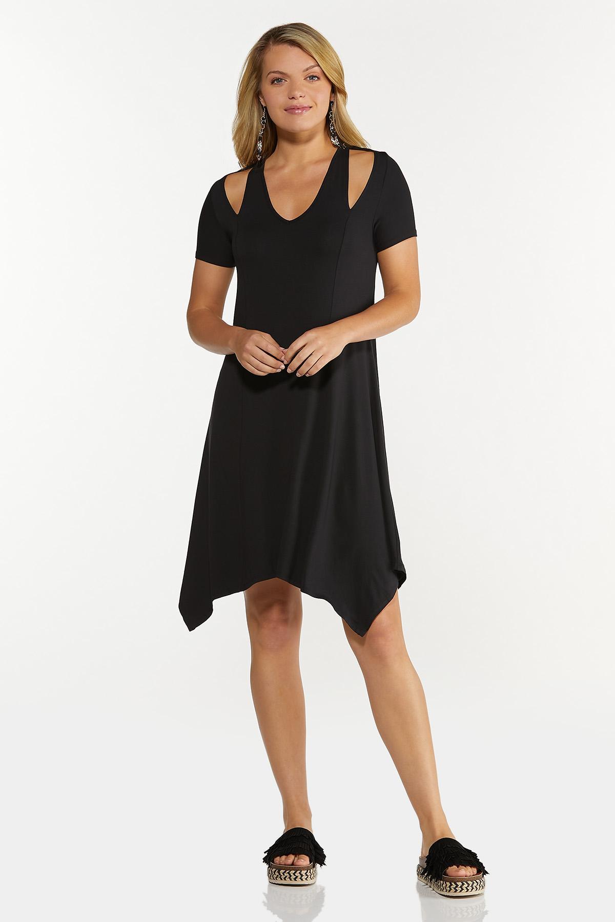 Plus Size Solid Cutout Shoulder Dress