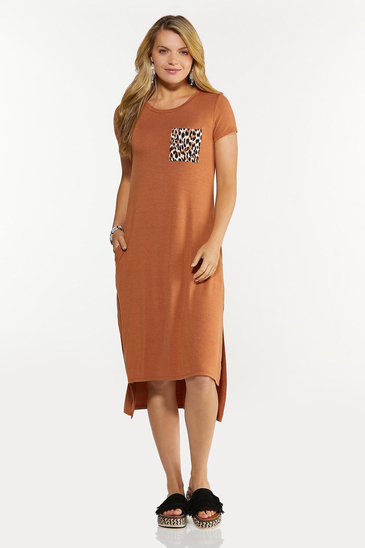 Plus Size Leopard Pocket Tee Midi Dress