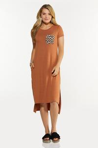 Leopard Pocket Tee Midi Dress