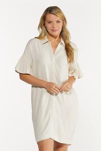 Plus Size Ruffled Sleeve Linen Dress