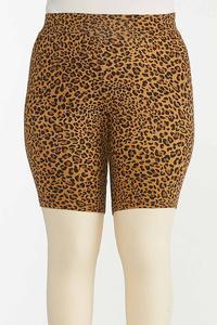 Plus Size Leopard Biker Shorts