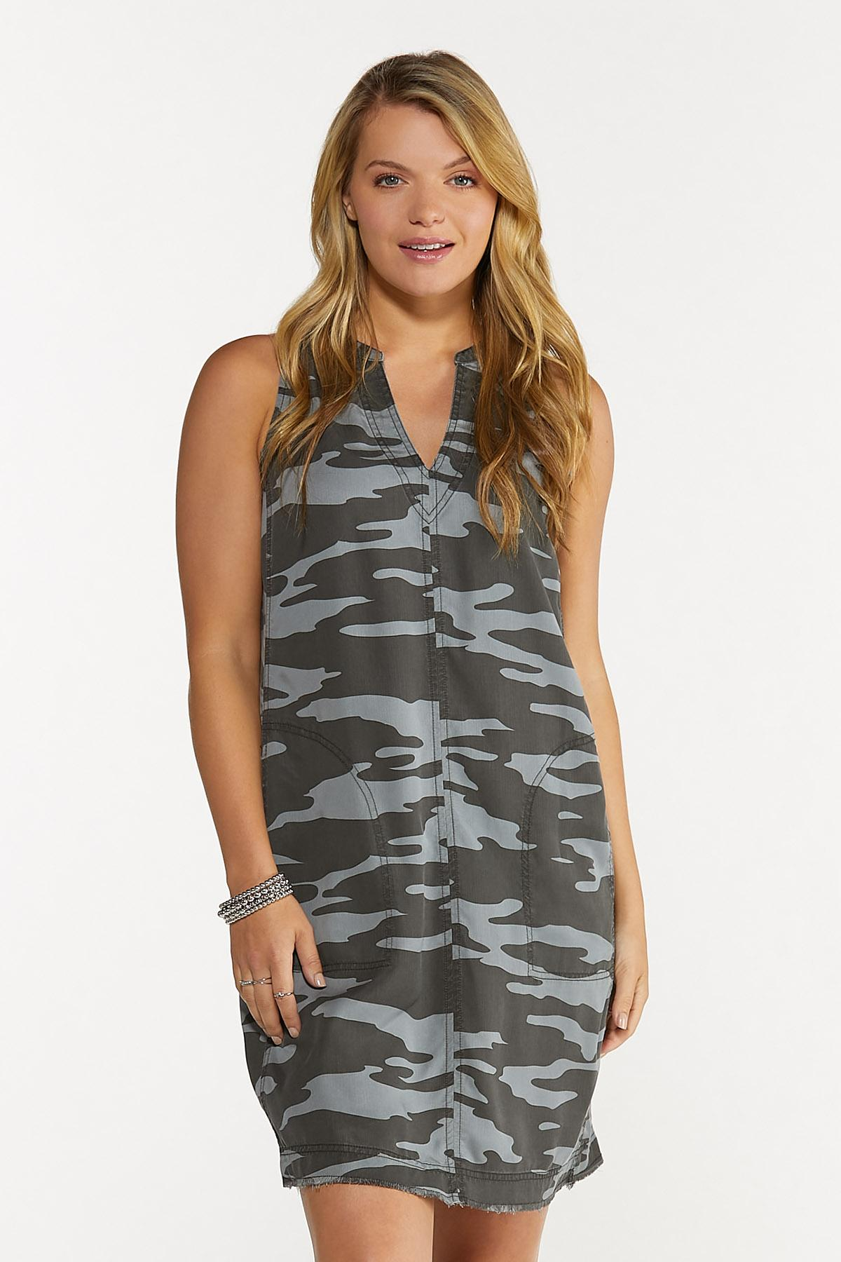 Plus Size Camo Shift Dress