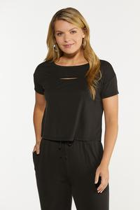 Plus Size Solid Cutout Tee