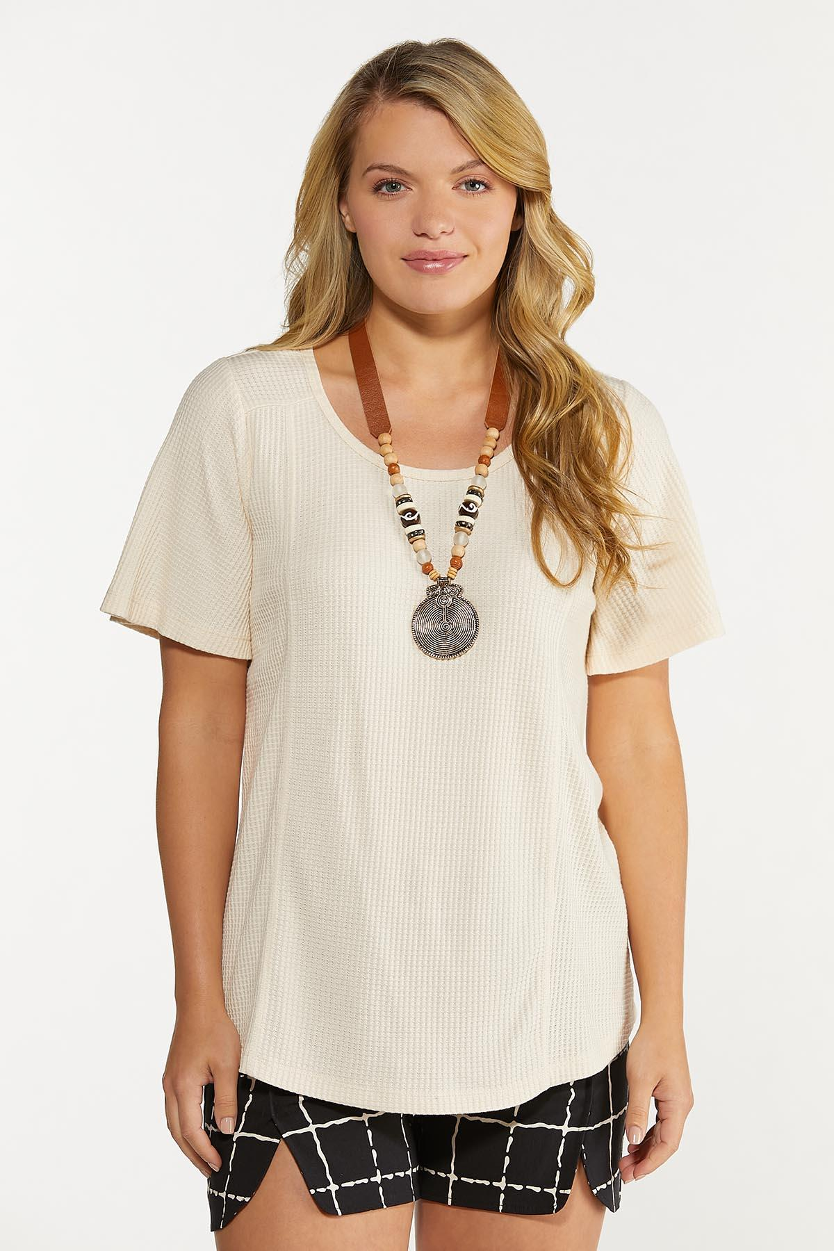Plus Size Waffle Scoop Neck Top